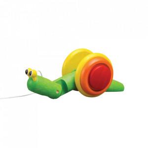 Jucarie de tras multicolora din lemn Snail Plan Toys