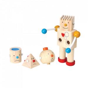 Jucarie multicolora din lemn Build a Robot Plan Toys