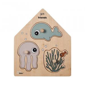 Jucarie tip puzzle multicolora din placaj Sea Friends Done by Deer