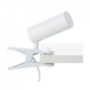 Lampa birou alba din plastic si metal cu LED 18 cm Soeren Brilliant