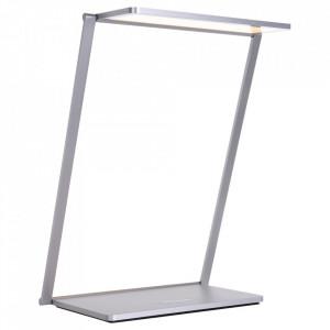 Lampa birou dimabila cu incarcare wireless si LED argintie din otel 21 cm Serenade Steinhauer