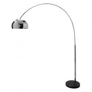 Lampadar ajustabil argintiu din metal si marmura 170-205 cm Big Bow Invicta Interior