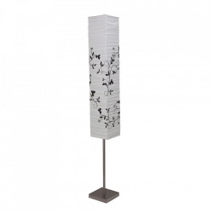 Lampadar gri/alb din metal si hartie de orez cu 2 becuri 145 cm Nerva Brilliant
