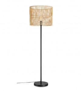 Lampadar maro/negru din bambus si metal 152 cm Coastal Floor Natural Markslojd