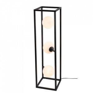 Lampadar negru/alb din metal si sticla cu 3 becuri 93 cm Cube Floor Black Aldex