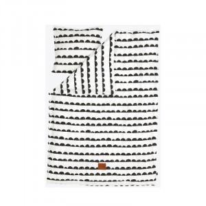 Lenjerie de pat bumbac alb/negru 140x200 cm Half Moon Ferm Living