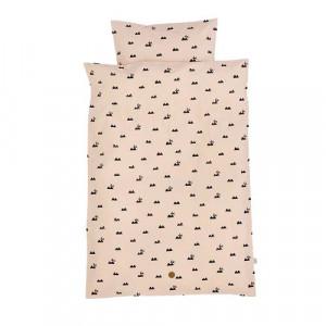 Lenjerie de pat bumbac roz 70x100 cm Baby Rose Rabbit Ferm Living