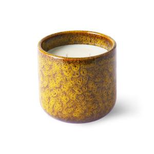 Lumanare parfumata cu suport galben din ceramica si ceara 10 cm Cocktails in Manhattan HK Living