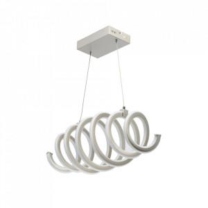 Lustra alba/argintie din metal si silicon cu LED DeMarkt Spiral MW Glasberg