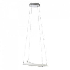Lustra argintie/alba din plastic si metal cu LED Fannlich Brilliant