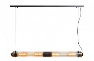 Lustra neagra din alama/sticla cu 4 becuri Tubo Versmissen