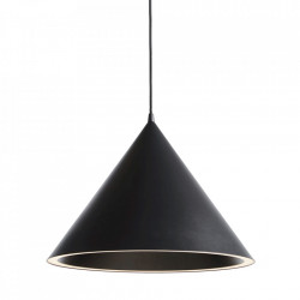 Lustra neagra din metal cu LED Annular Large Woud