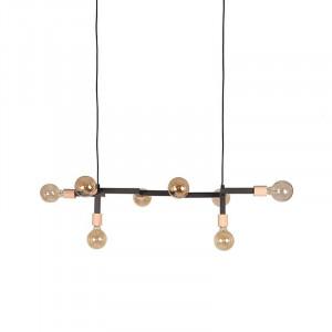 Lustra neagra/maro din metal si lemn cu 8 becuri Loco LABEL51