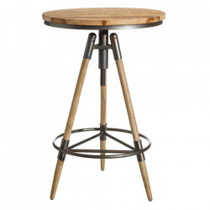 Masa bar maro/negra din lemn de brad si fier 59 cm Chatta Ixia