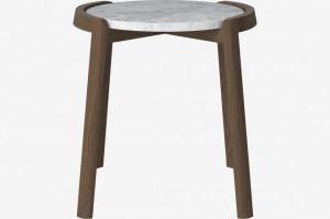 Masa cafea din lemn stejar inchis si marmura gri 46 cm Mixed Bolia