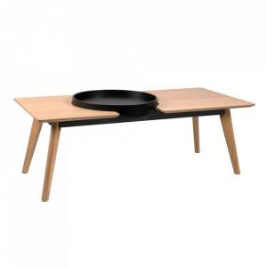 Masa de cafea maro/neagra din lemn de stejar si MDF 55x120 cm Adam Somcasa