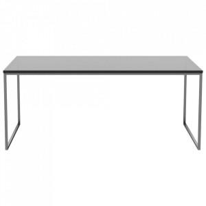 Masa de cafea neagra/argintie din sticla si inox 60x120 cm Como Tall Bolia