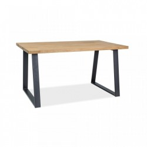 Masa din lemn de stejar si metal 90x180 cm Ronaldo Lity Signal Meble