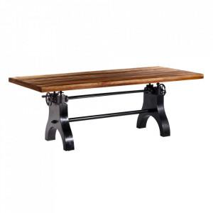 Masa dining ajustabila maro/neagra din lemn reciclat si fier 100x220 cm Innes Denzzo