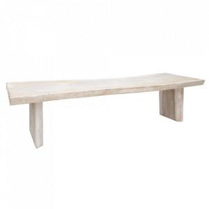 Masa dining alba/maro din lemn de suar 80x300 cm Aitana Denzzo