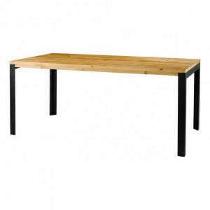 Masa dining din lemn de pin si metal 90x180 cm City Zago
