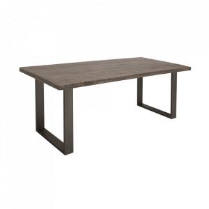 Masa dining gri/neagra din lemn si fier 90x160 cm Iron Craft Invicta Interior