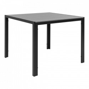 Masa dining gri/neagra din polietilena si aluminiu 90x90 cm Colorado House Nordic