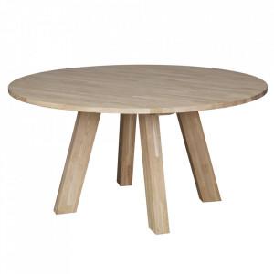 Masa dining maro din lemn de stejar 150 cm Rhonda Woood