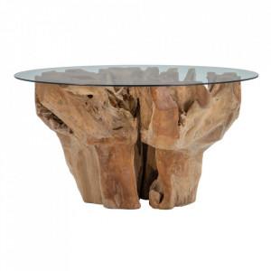 Masa dining maro din sticla si lemn de tec 150 cm Uarbry Denzzo