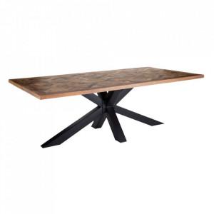 Masa dining maro/neagra din lemn de mango si fier 120x220 cm Kindee Denzzo