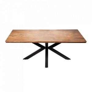 Masa dining maro/neagra din lemn de mango si metal 90x180 cm Galaxy Invicta Interior