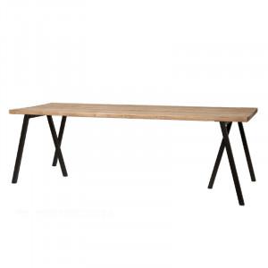 Masa dining maro/neagra din lemn de stejar si fier 90x240 cm Madhav Lifestyle Home Collection