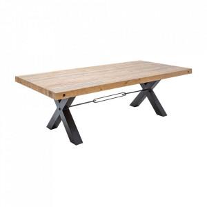 Masa dining maro/neagra din lemn si fier 100x200 cm Thor Invicta Interior
