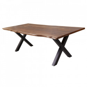 Masa dining maro/neagra din lemn si metal 100x200 cm Amazonas Invicta Interior
