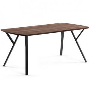 Masa dining maro/neagra din lemn si metal 90x160 cm Babeli La Forma
