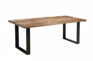 Masa dining maro/neagra din lemn si metal 90x200 cm Iron Craft Invicta Interior