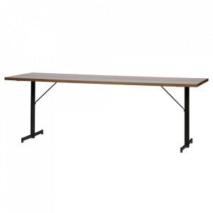 Masa dining maro/neagra din lemn si otel 80x220 cm T-Legs Woood