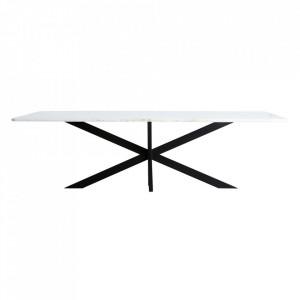 Masa dining neagra/alba din marmura si fier 120x250 cm Tebas Vical Home