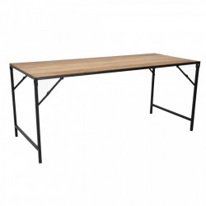 Masa dining pliabila maro/neagra din lemn reciclat si metal 75x180 cm Shigar Raw Materials