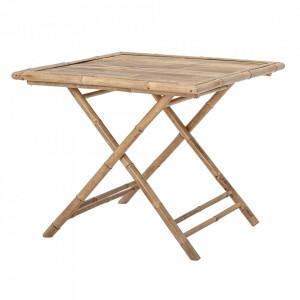 Masa dining pliabila pentru exterior maro din bambus 90x90 cm Sole Bloomingville