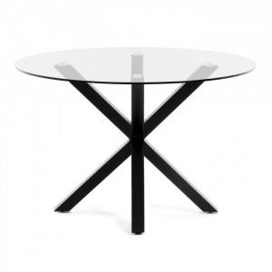 Masa dining rotunda din metal negru cu blat sticla 119 cm Argo Kave Home