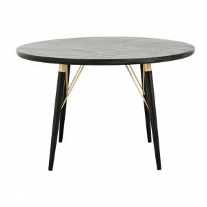 Masa rotunda din lemn negru 120 cm Elements Nordal