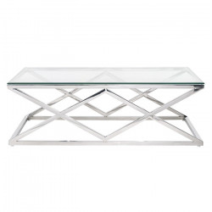 Masa transparenta/argintie din sticla si inox pentru cafea 70x120 cm Paramount Richmond Interiors