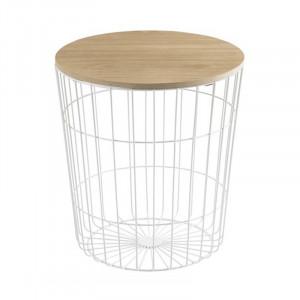 Masuta alba/maro din metal si lemn pentru cafea 43 cm Lotus Actona Company