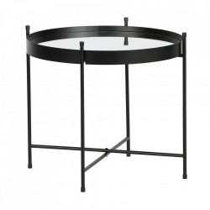 Masuta cafea neagra din metal si oglinda 48 cm Faros Woood