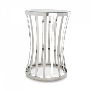 Masuta de cafea argintie din sticla si inox 40 cm Chilton Eichholtz