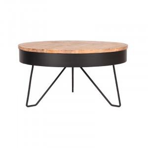 Masuta de cafea maro/neagra din lemn si metal 80 cm Saran LABEL51