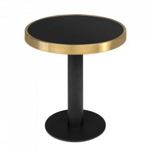 Masuta de cafea neagra/aurie din sticla si fier 50 cm Pigalle Versmissen