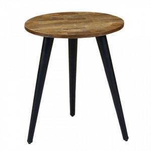 Masuta maro/neagra din lemn de tec si metal 46 cm Woody Zago