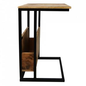 Masuta maro/neagra din lemn si fier 34x40 cm Jim HSM Collection